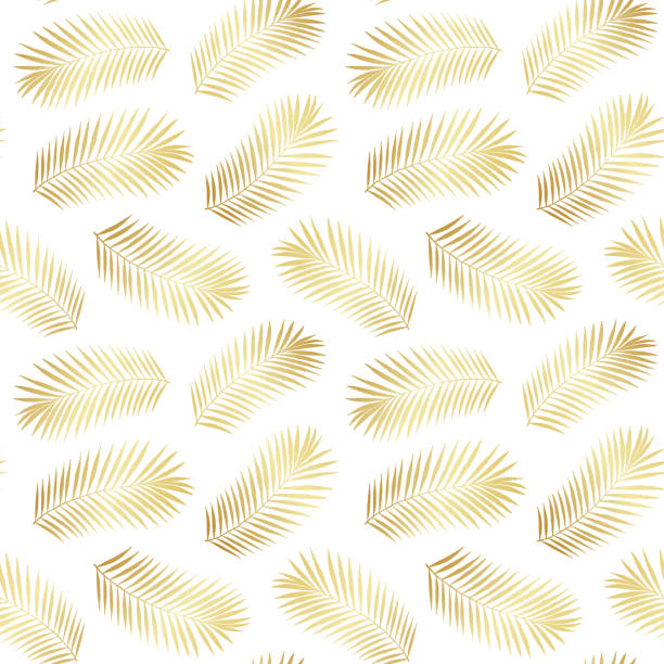 summer gold tropical palm tree leaves seamless pattern. vector grunge design for cards, web, backgrounds and natural product - jungle stock illustrations