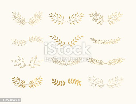Summer golden flourish dividers for page decoration. Wedding invite laurels.
