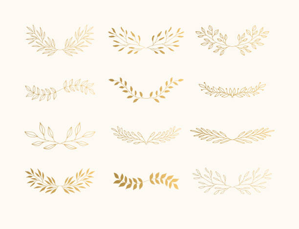 summer golden flourish dividers for page decoration. wedding invite laurels. - vine stock illustrations, clip art, cartoons, & icons