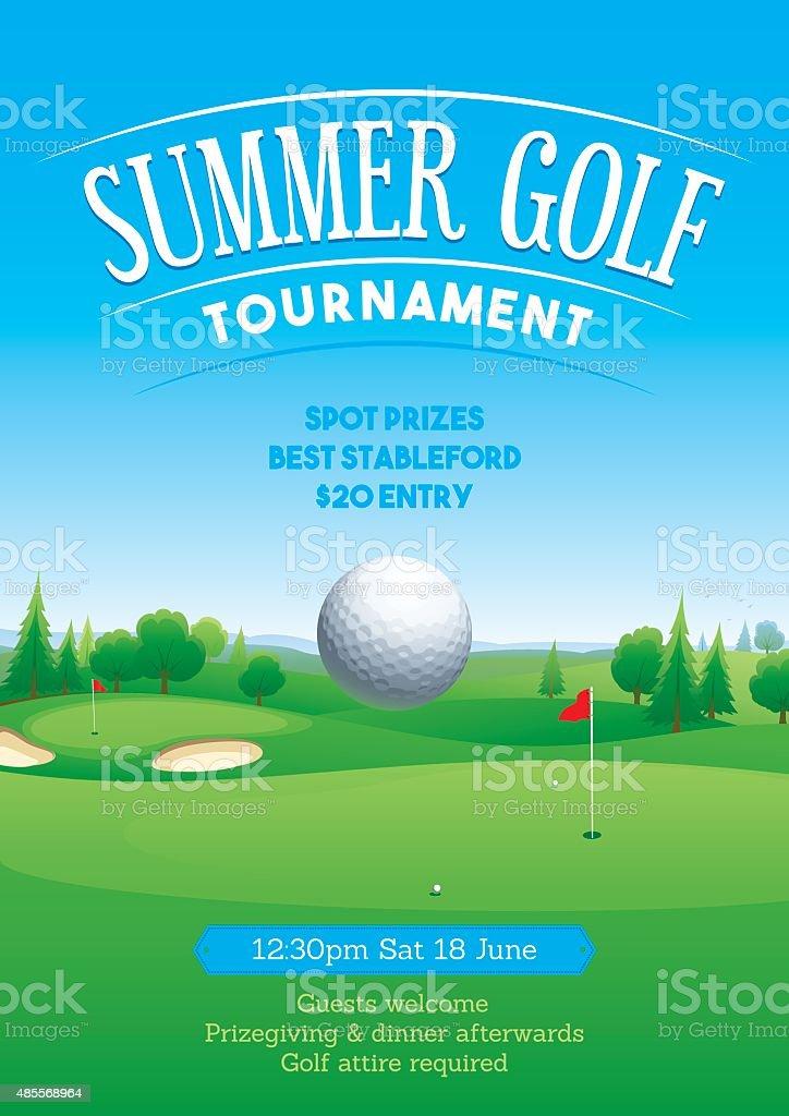 Summer golf tournament poster vector art illustration