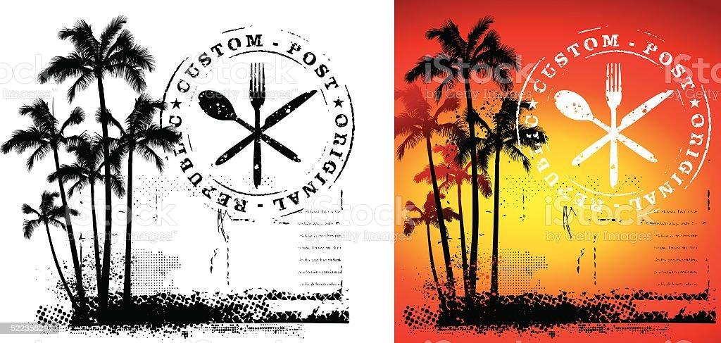 Scène gastronomique en été - Illustration vectorielle