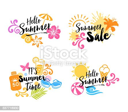 Summer signs with icons: suntan lotion,beach umbrella, lemonade, butterfly, ice cream, beach ball, ice cream and sunglasses.File is layered with global colors.More works like this linked below.http://www.myimagelinks.com/Lightboxes/summer_files/shapeimage_2.png