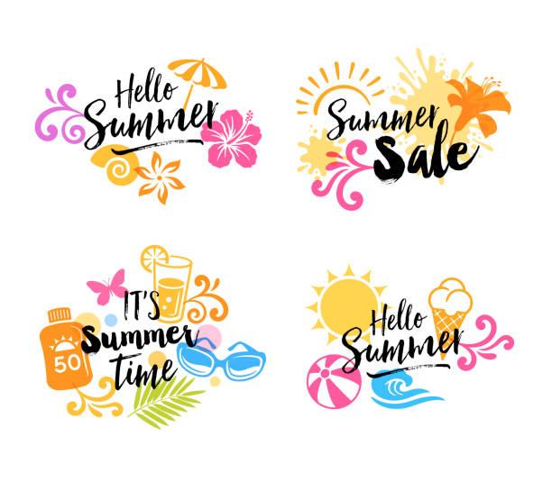 夏のグラフィックアイコン - 夏点のイラスト素材/クリップアート素材/マンガ素材/アイコン素材