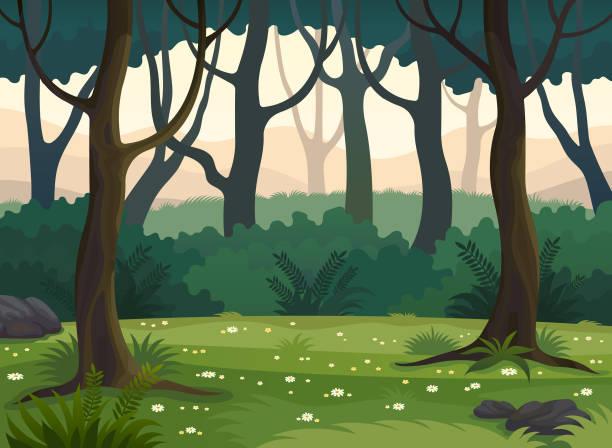 bildbanksillustrationer, clip art samt tecknat material och ikoner med sommaren gröna skogen vektorillustration för landskapet. - forest