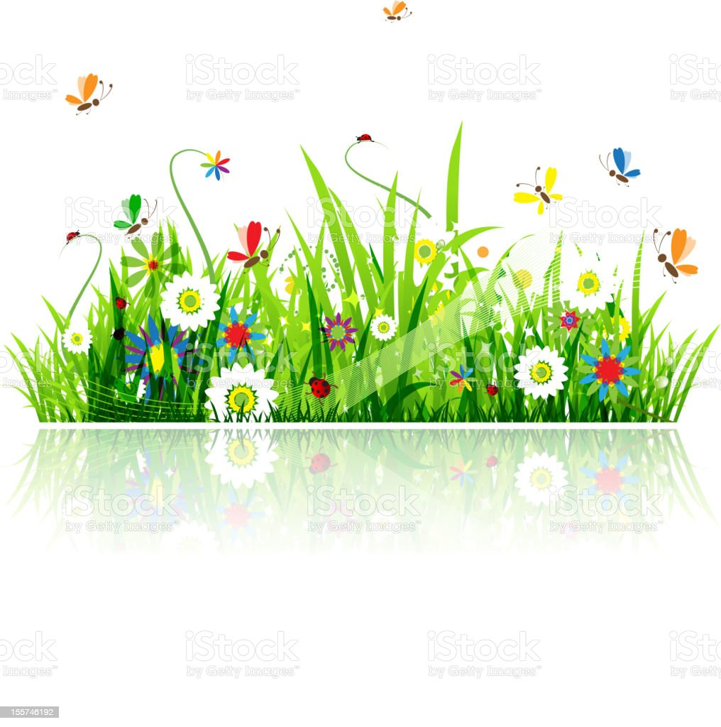 Summer green meadow for your design royalty-free stock vector art
