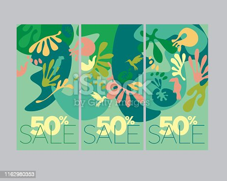 Summer green tropical nature banner set. Absatract jungle nature composition for card, header, invitation, poster, social media, post publication. Summer sale promotional content.