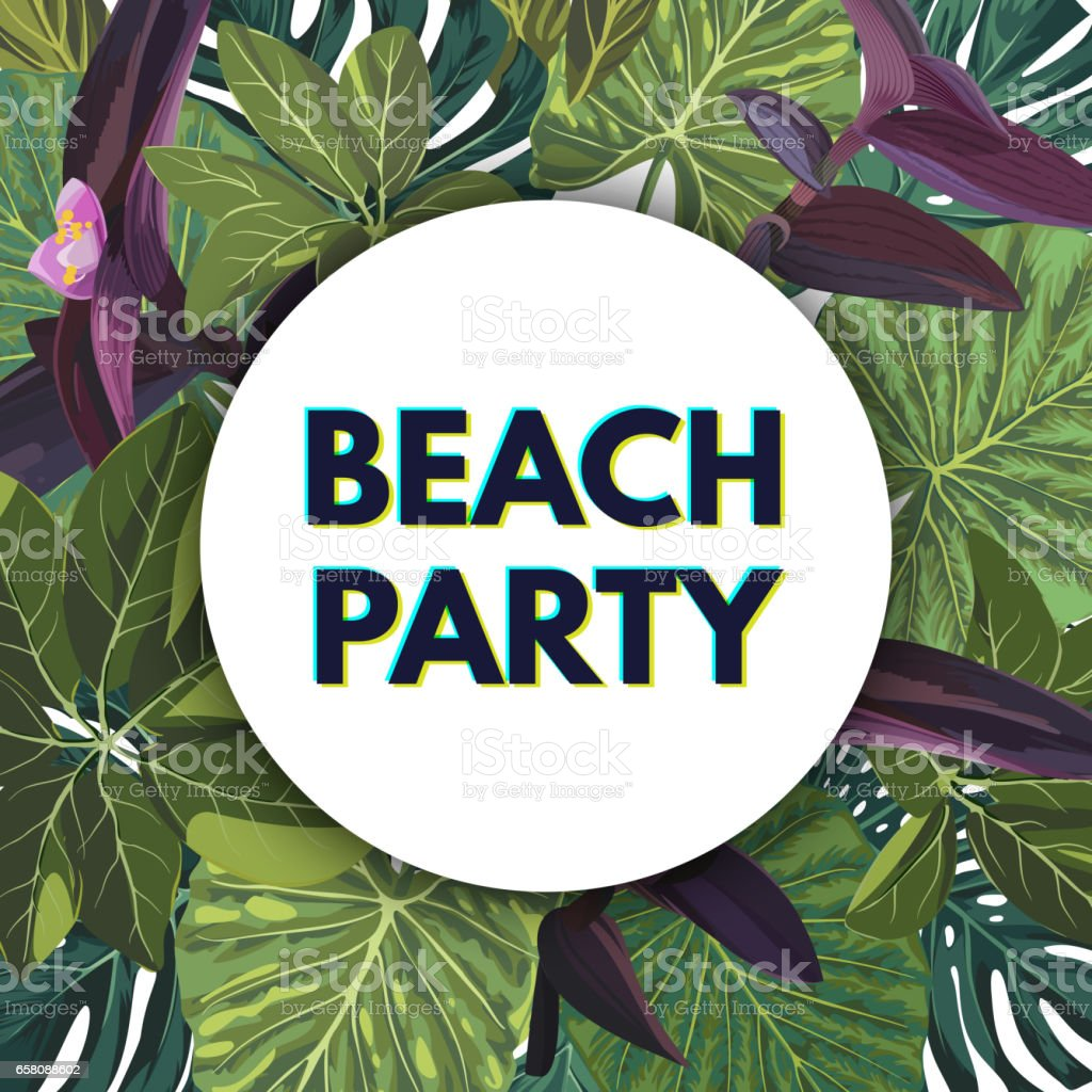 Summer green tropical party flyer design with palm tree leaves and purple flowers royalty-free summer green tropical party flyer design with palm tree leaves and purple flowers stock vector art & more images of advertisement
