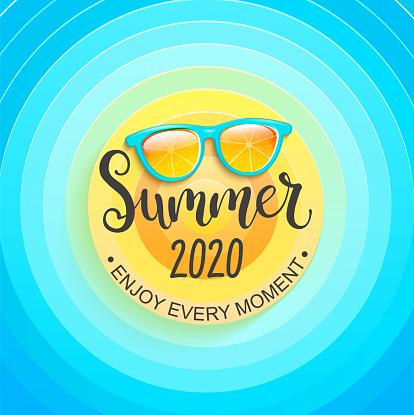 Summer greeting banner for summertime 2020.