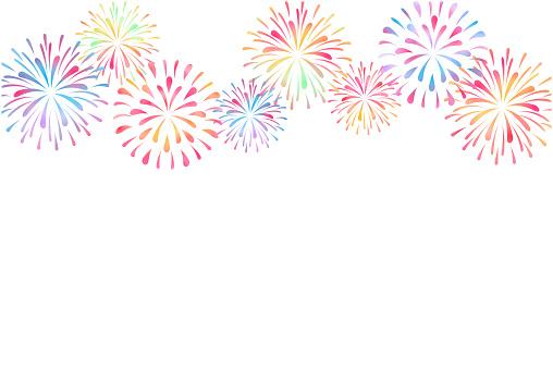summer greeting card design of fireworks