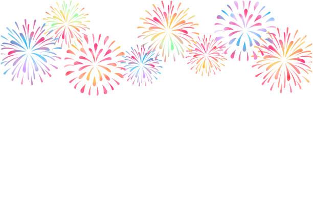 불꽃놀이의 여름 인사말 카드 디자인 - fireworks stock illustrations