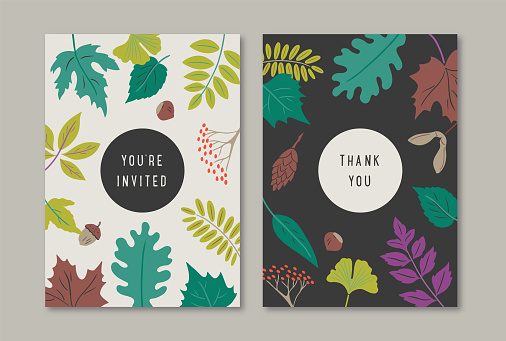 Summer greeting card designs with hand-drawn vector botanical pattern