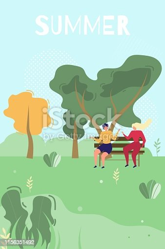 istock Summer Greeting Card with Lettering and People 1156351492
