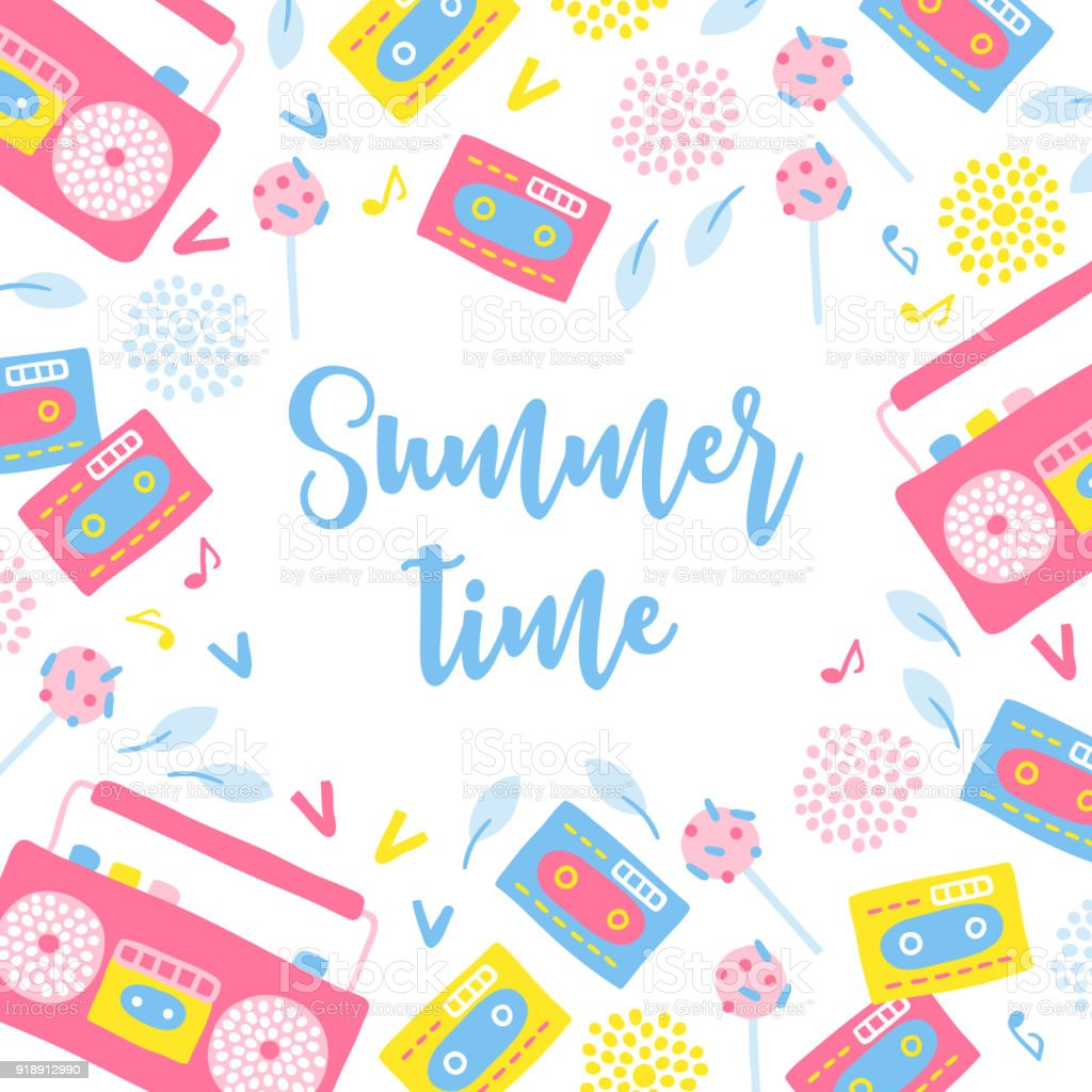 Summer Greeting Card With Radio Lollipop Cartridge Leaves And Notes