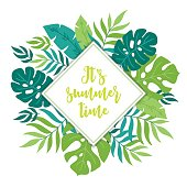 Summer greeting card with tropical leaves and rhombus label