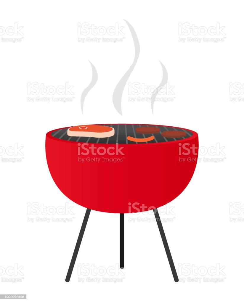 Summer grilling vector art illustration