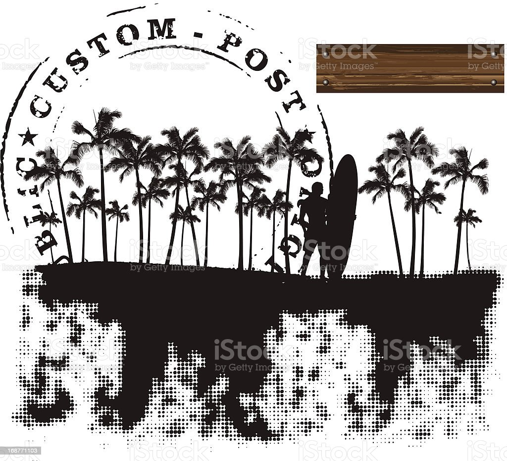 summer grunge banner with palms and surfer royalty-free stock vector art