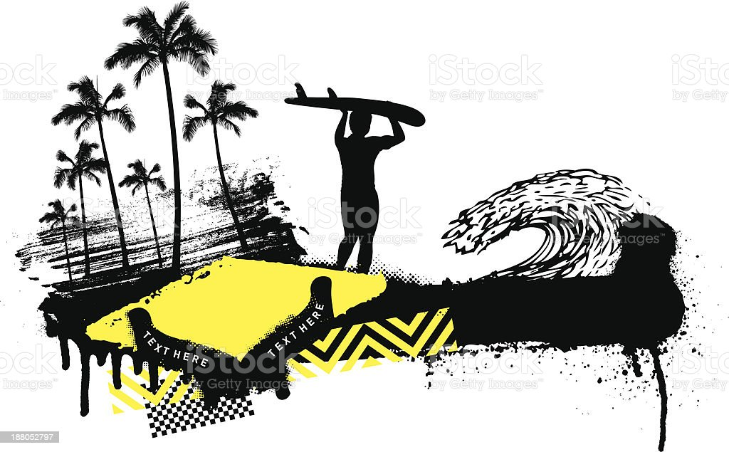summer grunge scene with surfer walking royalty-free stock vector art
