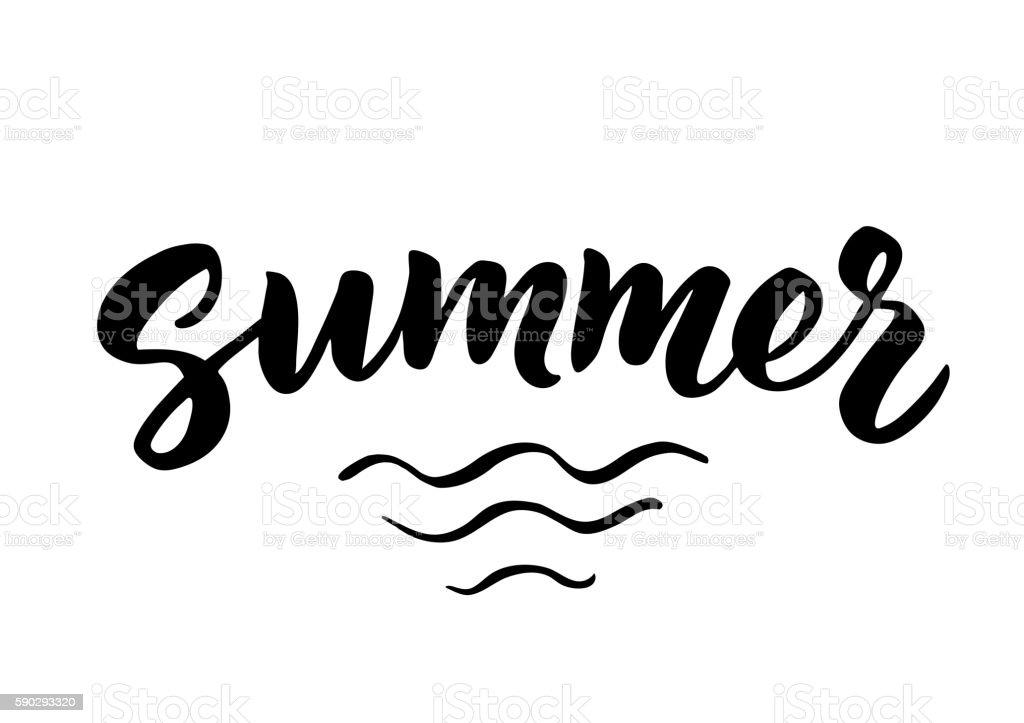 Summer hand drawn brush lettering royaltyfri summer hand drawn brush lettering-vektorgrafik och fler bilder på affisch