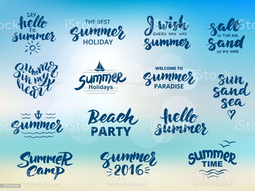 Summer hand drawn brush letterings – Vektorgrafik