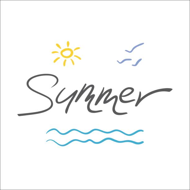 Summer hand drawn logo with lettering Summer, sun and waves on white background. vector art illustration