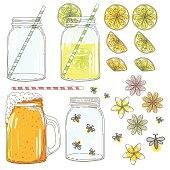 Sketchy hand drawn mason jars. One is a mug with a handle. There are fireflies and fruit slices. Daisies and frangipani flowers are included.