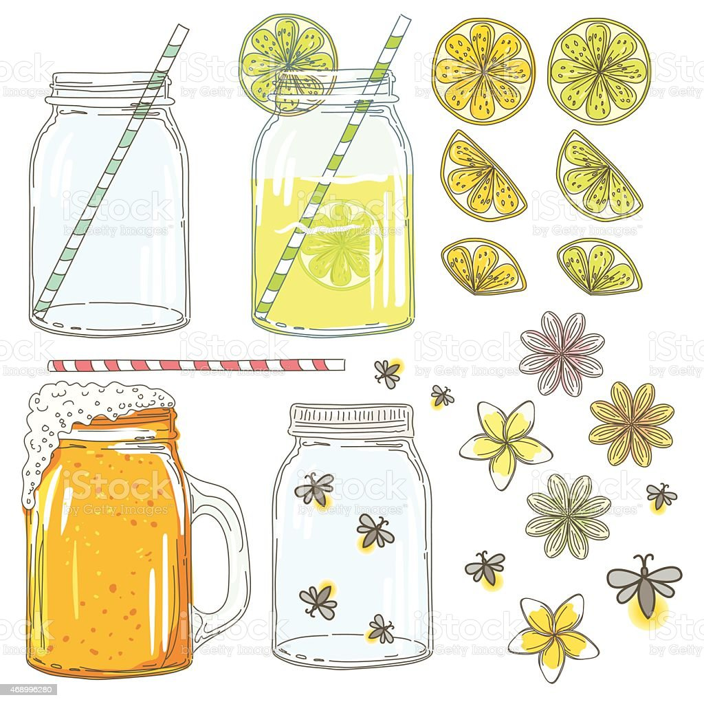 Summer Hand Drawn Mason Jars With Citrus Slices And Fireflies vector art illustration