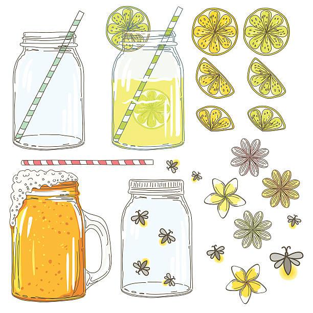 sommer hand drawn mason jar mit zitrone scheiben und fireflies  - glasblumen stock-grafiken, -clipart, -cartoons und -symbole