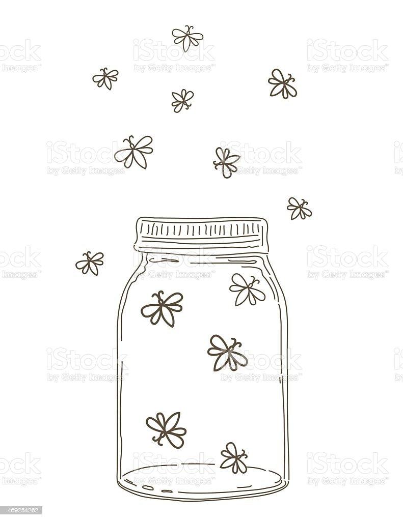 summer hand drawn mason jars  fireflies stock