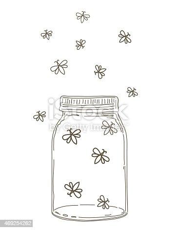 Summer Hand Drawn Mason Jars With Fireflies Stock Vector