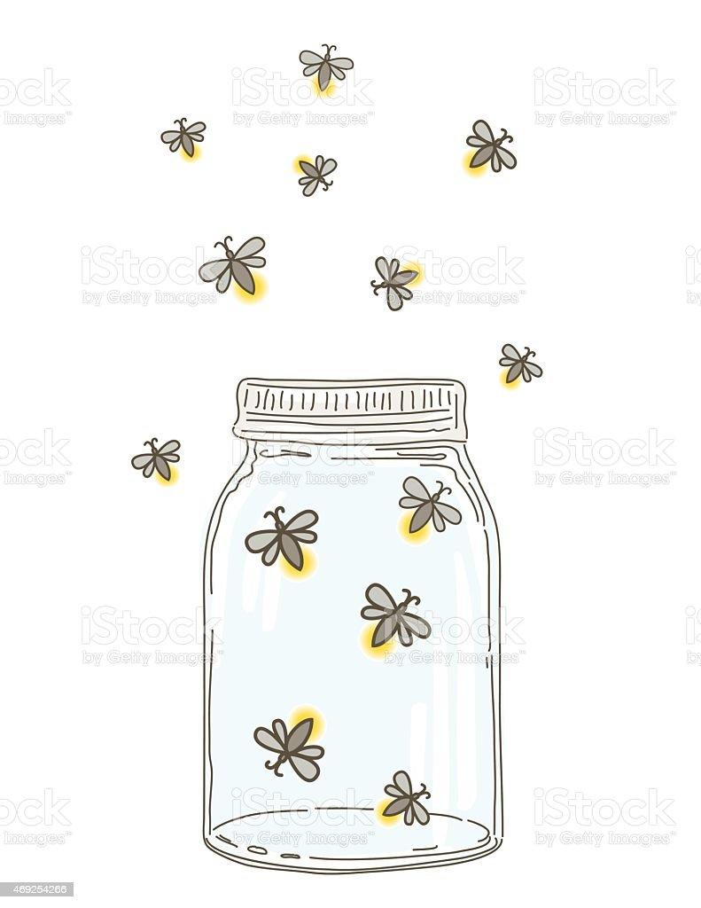 Summer Hand Drawn Mason Jars With Fireflies vector art illustration