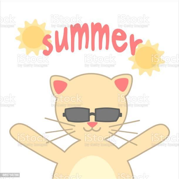 Summer hand written calligraphy with cute cartoon cat vector card vector id689756286?b=1&k=6&m=689756286&s=612x612&h=qzqtvvmpr0sentogyrso0bwozx8ohbybpk4psqifuwq=