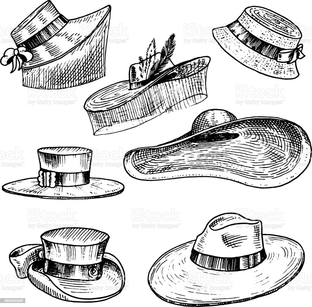 Ilustración de Colección De Sombreros De Verano Para La Mujer ... a9c4571af1f