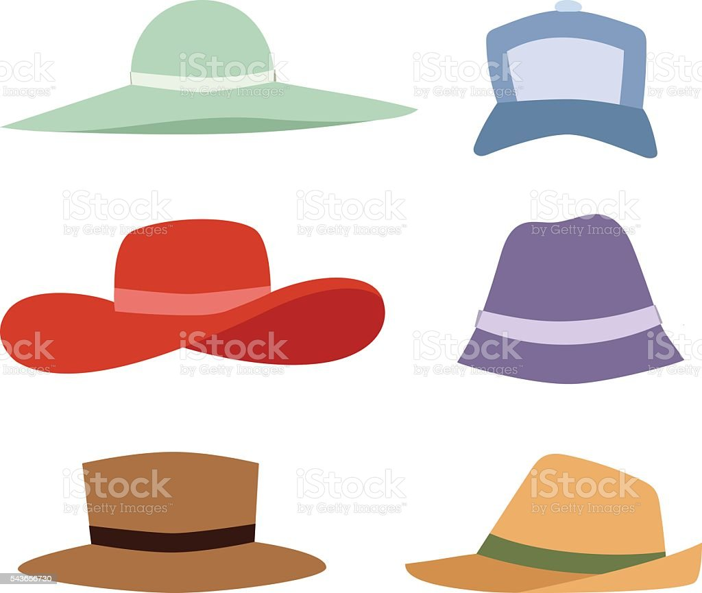Summer hats collection vector set. vector art illustration