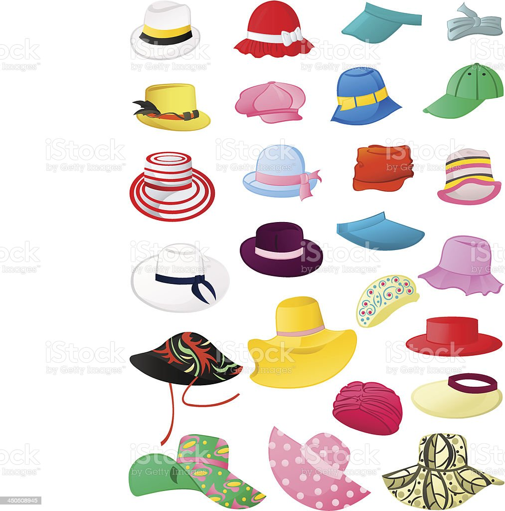 Summer hats vector art illustration