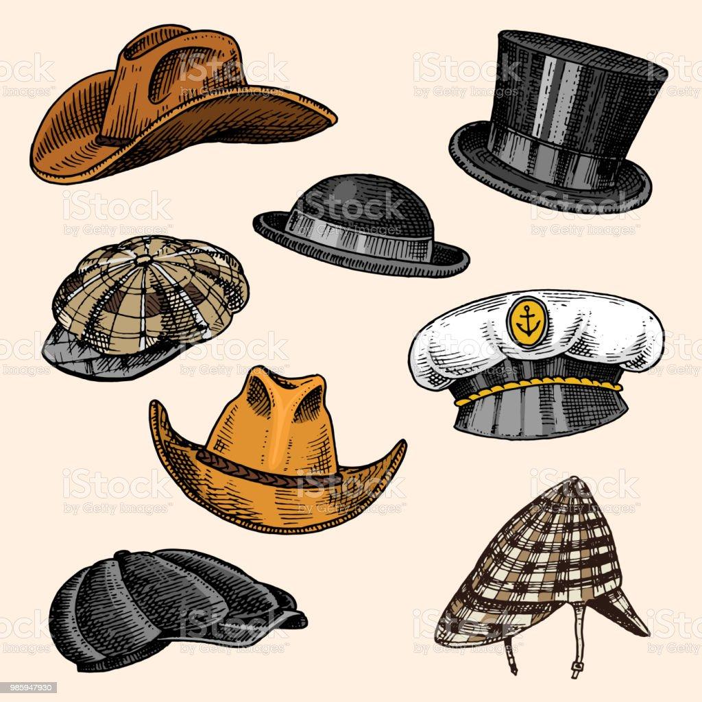 Ilustración de Verano Colección Vintage Sombreros Para Hombres ...