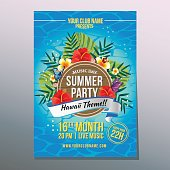 summer hawaii pasrty poster
