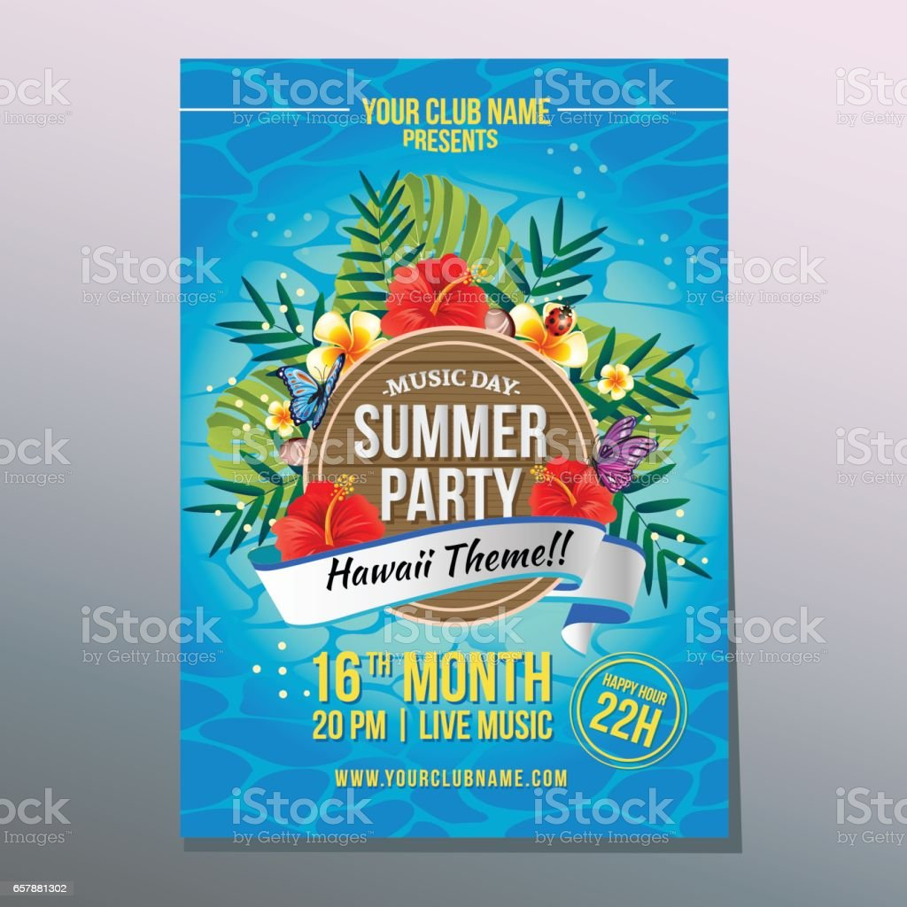 summer hawaii pasrty poster vector art illustration