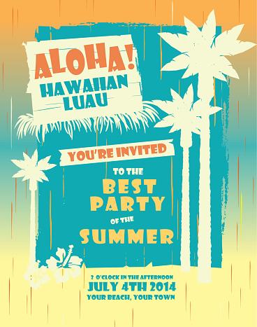 Summer Hawaiian Luau party design template