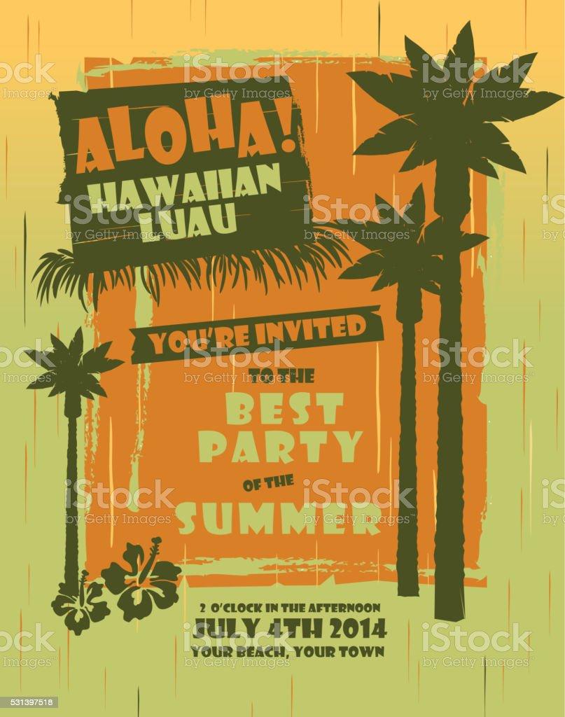 Summer Hawaiian Luau party design template vector art illustration