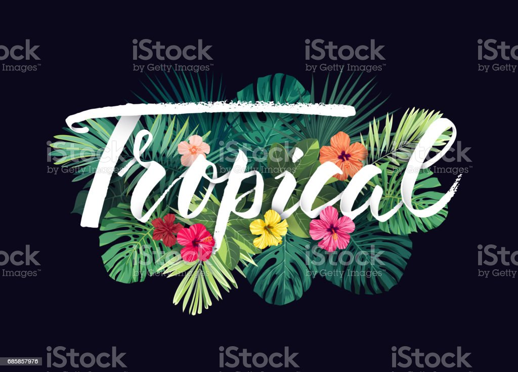 Summer hawaiian vector design for card or flyer with exotic palm leaves, hibiscus flowers and lettering vector art illustration