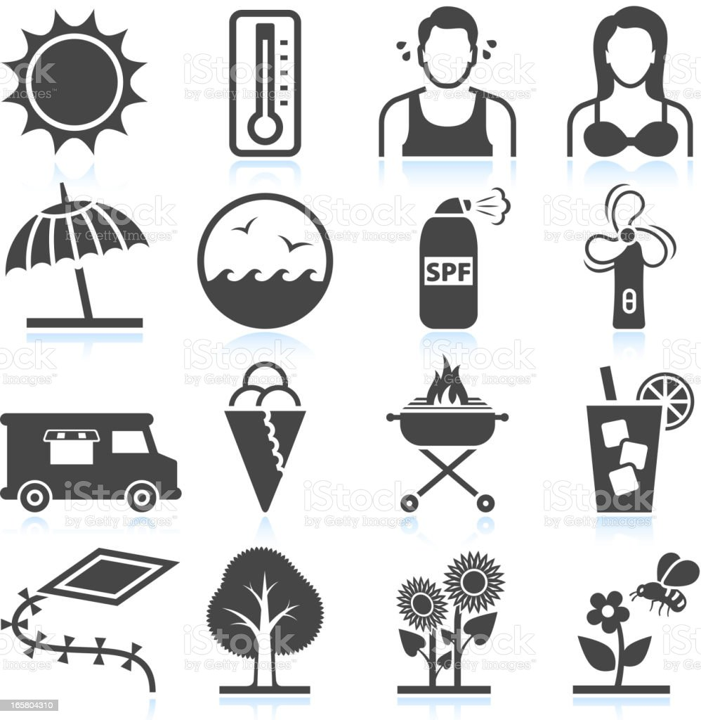 Summer Heat and Leisure Activities black & white icon set vector art illustration