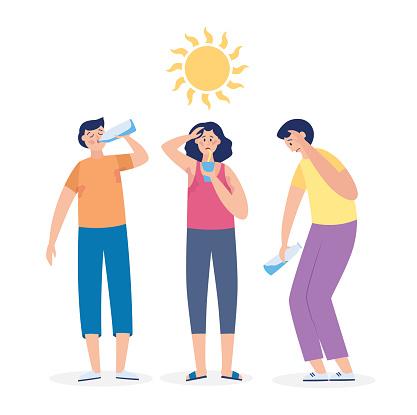 Summer heatstroke risk with cartoon people flat vector illustration isolated.