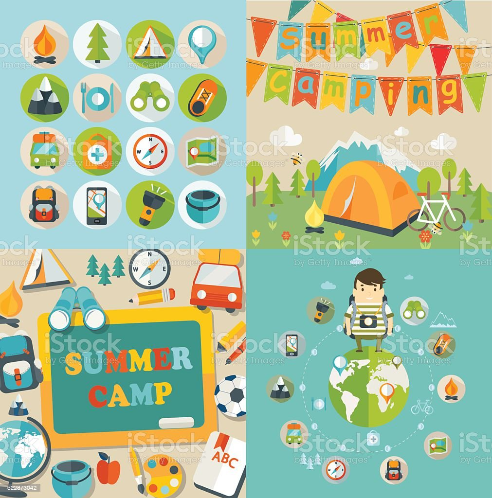 Summer Holiday and Travel themed. vector art illustration