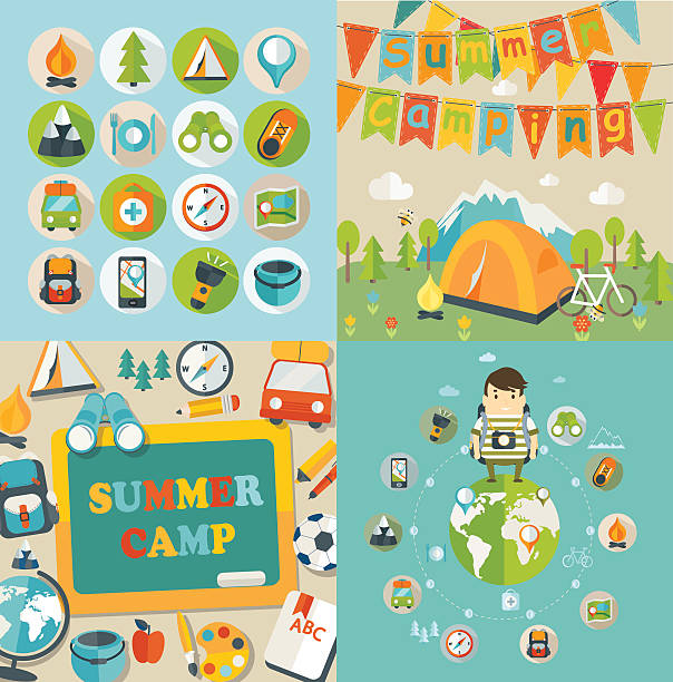 Summer Holiday and Travel themed. Summer Holiday, Travel, Summer Camp, Hiking, Mountain, Icons, Symbol, Sign, Camping adventure borders stock illustrations