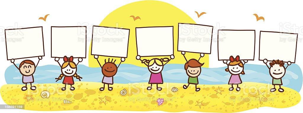 summer holiday beach children with banner cartoon illustration vector art illustration