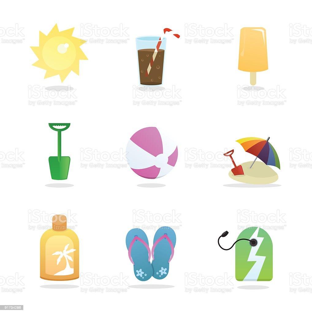 Summer Holiday Beach Icons vector art illustration