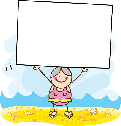 summer holiday beach old woman with banner cartoon illustration