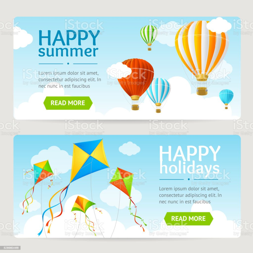 Summer Holiday Card Set. Vector