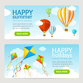 Summer Holiday Card Set with Kite and Balloon. Horizontal. Vector illustration
