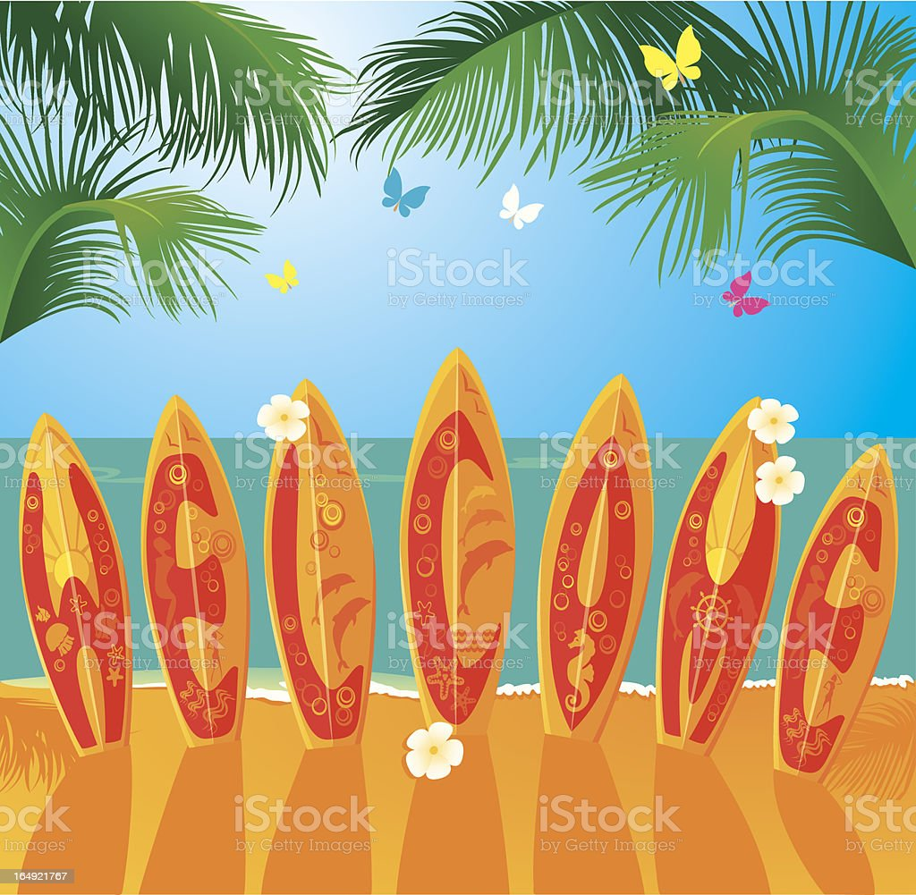 Summer Holiday card - surfboards with text WELCOME royalty-free stock vector art